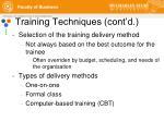 training techniques cont d1