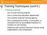 training techniques cont d3