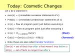 today cosmetic changes