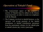 operation of takaful fund
