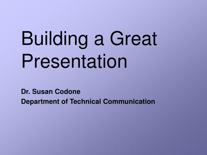 building a great presentation n.