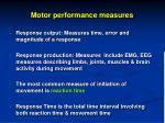 motor performance measures