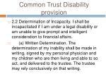 common trust disability provision