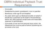 obra individual payback trust requirements