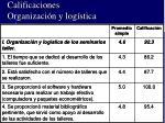 calificaciones organizaci n y log stica