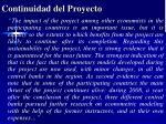 continuidad del proyecto