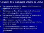 criterios de la evaluaci n externa de desa