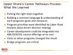 upper shore s career pathways process what we learned