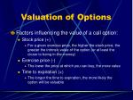 valuation of options