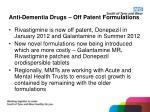 anti dementia drugs off patent formulations