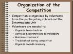 organization of the competition