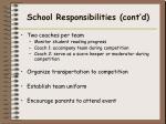 school responsibilities cont d