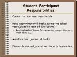 student participant responsibilities