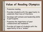 value of reading olympics