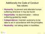 additionally the code of conduct has values