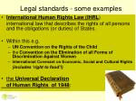 legal standards some examples