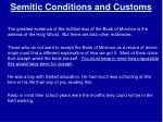 semitic conditions and customs