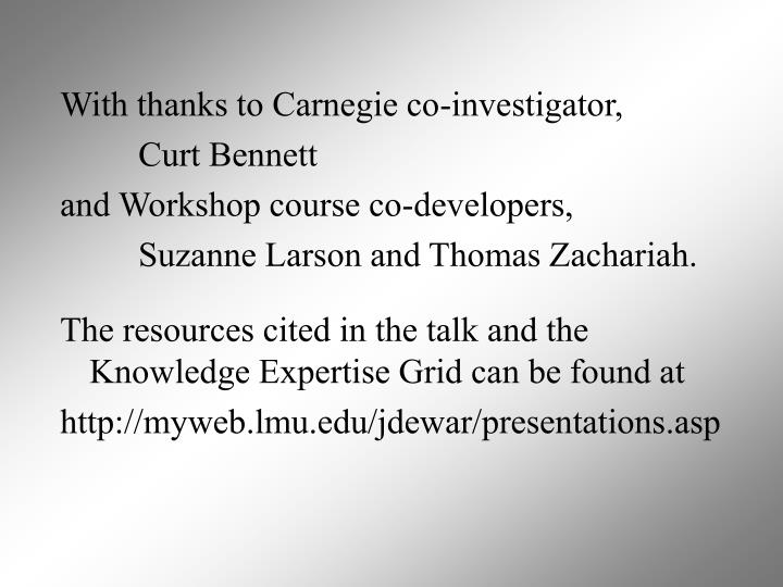 With thanks to Carnegie co-investigator,