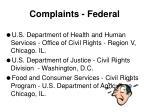 complaints federal
