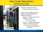 clear creek takes action tuesday september 20 2005 protecting technology systems