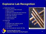 explosive lab recognition