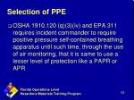 selection of ppe