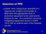 selection of ppe1