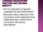 language socialization practices and cultural identity