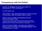 transparency with the patient1
