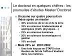 le doctorat en quelques chiffres les poursuites d tudes master doctorat