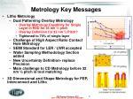 metrology key messages
