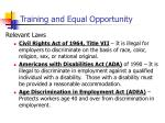 training and equal opportunity