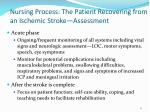 nursing process the patient recovering from an ischemic stroke assessment