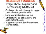 research findings stage three support and overcoming obstacles