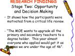 research findings stage two opportunity and decision making