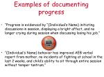 examples of documenting progress
