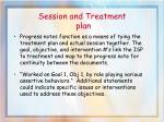 session and treatment plan