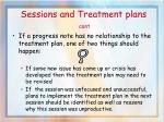 sessions and treatment plans cont