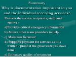 summary why is documentation important to you and the individual receiving services