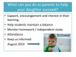 what can you do as parents to help your daughter succeed1