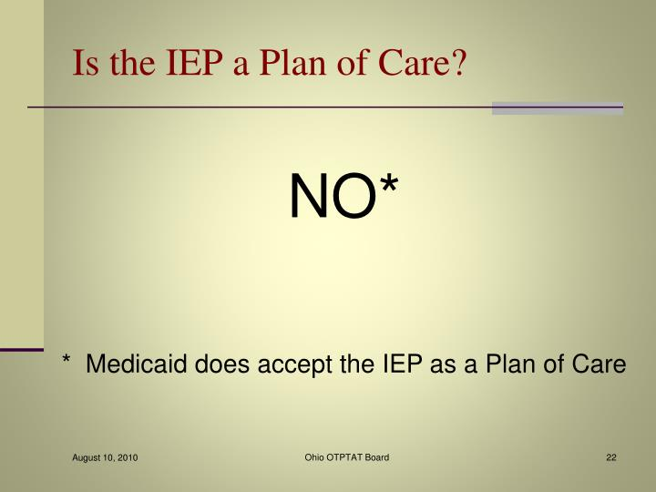 Is the IEP a Plan of Care?