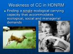 weakness of cc in hdnrm
