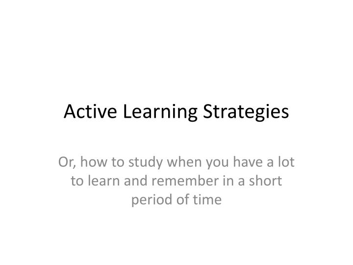 active learning strategies n.