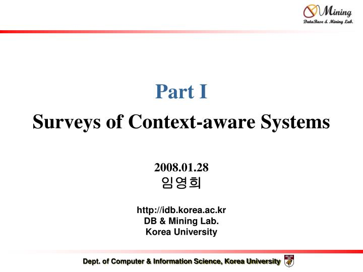 part i surveys of context aware systems n.