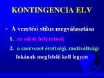 kontingencia elv