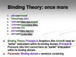 binding theory once more