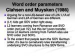 word order parameters clahsen and muysken 1986