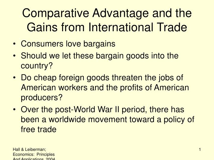 comparative advantage and the gains from international trade n.