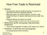 how free trade is restricted1