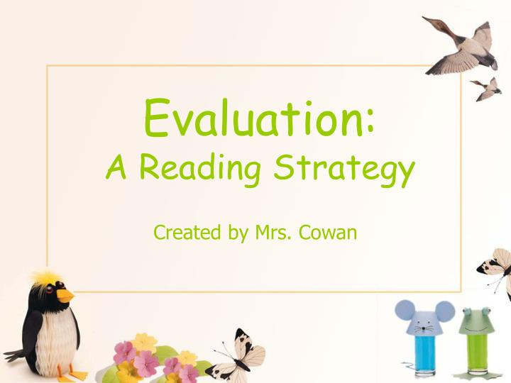 evaluation a reading strategy n.